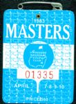 1983 Masters Badge Ticket - Seve Ballesteros