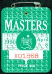 1990 Masters Badge Ticket - Nick Faldo