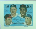 "Walt Alston, George Kell & Brooks Robinson Signed Class of 1983"" Lithograph"""