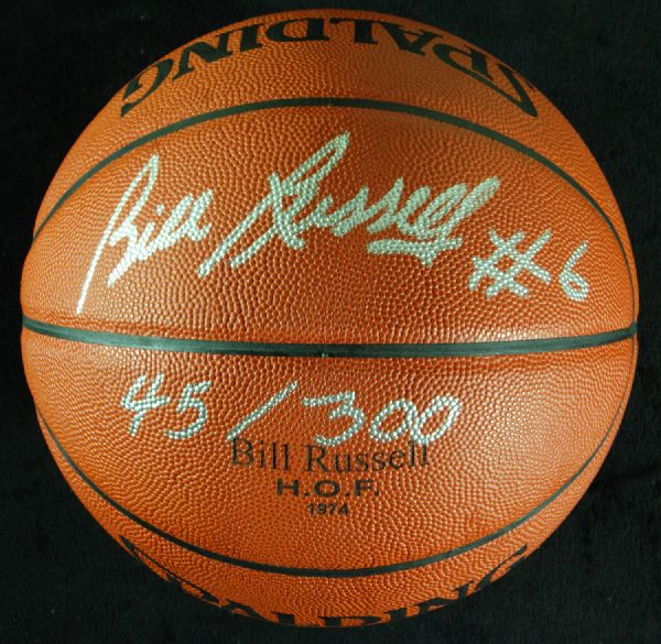 Bill Russell Signed Spalding HOF 74 Basketball with Russell COA (PSA/DNA)