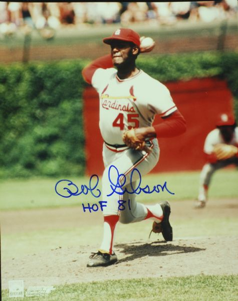 Bob Gibson Signed 8x10 Photo HOF 81