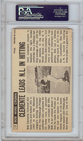 Roberto Clemente Signed 1964 Topps Giants No. 11 (PSA/DNA)