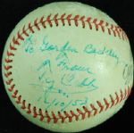"Ty Cobb Single-Signed Rawlings Baseball Dated ""12/10/53"" (JSA)"