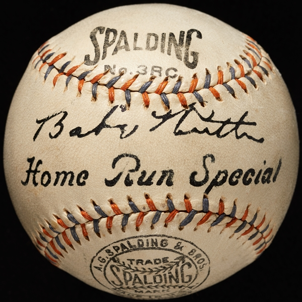 Babe Ruth Single-Signed Spalding Home Run Special Baseball (Graded PSA/DNA 6.5) (AUTO 6) (BAS)