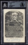 Cy Young Signed B&W HOF Plaque Postcard (Graded BAS 9)