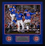 2016 Chicago Cubs Team-Signed Framed Photo with Unique Inscriptions (20) (1/16) (Fanatics)