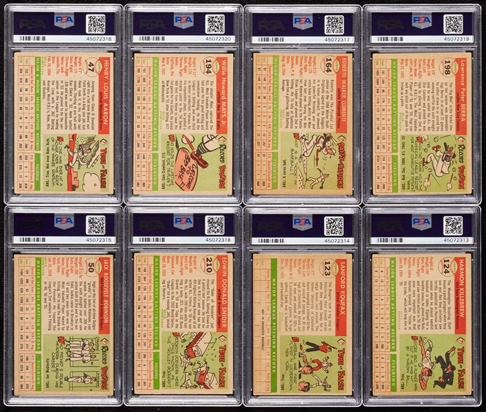 1955 Topps Baseball Complete Set, 10 Slabbed, Clemente and Koufax – PSA 5s (251)