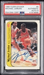 Michael Jordan Signed 1986-87 Fleer RC Sticker No. 8 (Graded PSA/DNA 9)