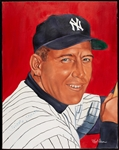 Mickey Mantle Signed Robert Simon Original Artwork (BAS)