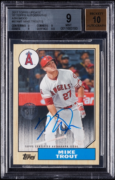 2017 Topps Update Mike Trout '87 Topps Autographs Ash Wood (1/3) BGS 9 (AUTO 10)