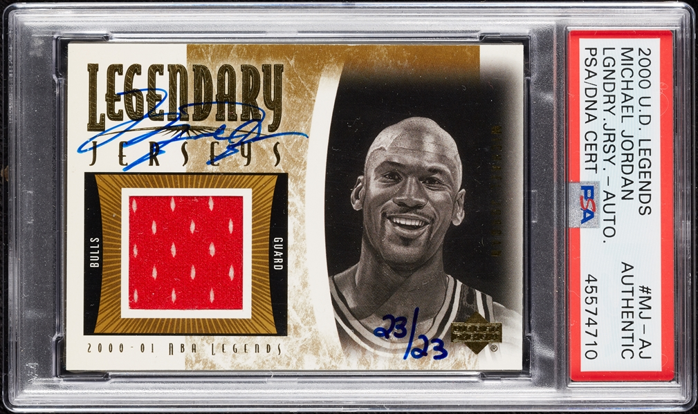 2000 UD Legends Michael Jordan Legendary Jersey Autographs #MJ-AJ (23/23) (PSA/DNA)