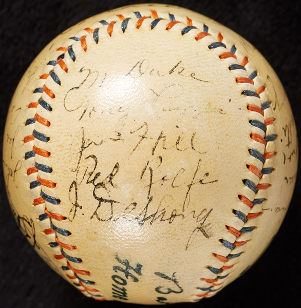 1935 New York Yankees Team-Signed Spalding Baseball with Lou Gehrig, Lazzeri (22) (JSA)