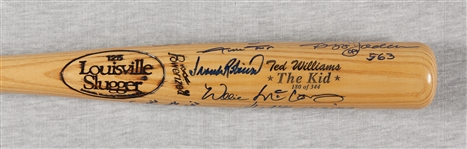 "500 Home Run Club Multi-Signed LS ""The Kid"" Bat with Williams, Aaron, Mays (11) (BAS)"
