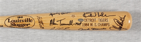 1984 Detroit Tigers World Champs Team-Signed Bat (7) (Mounted Memories)