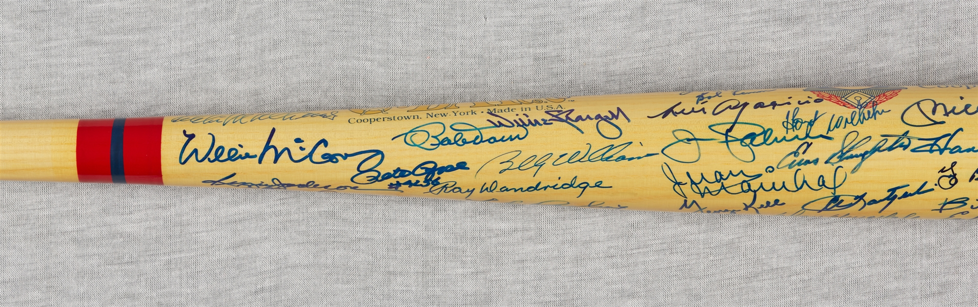 HOFer Multi-Signed Cooperstown Bat with Mantle, DiMaggio, Koufax, Aaron, Mays (50+) (JSA)