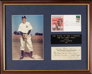 "Gary Cooper Signed Check ""Pride of the Yankees"" Display"