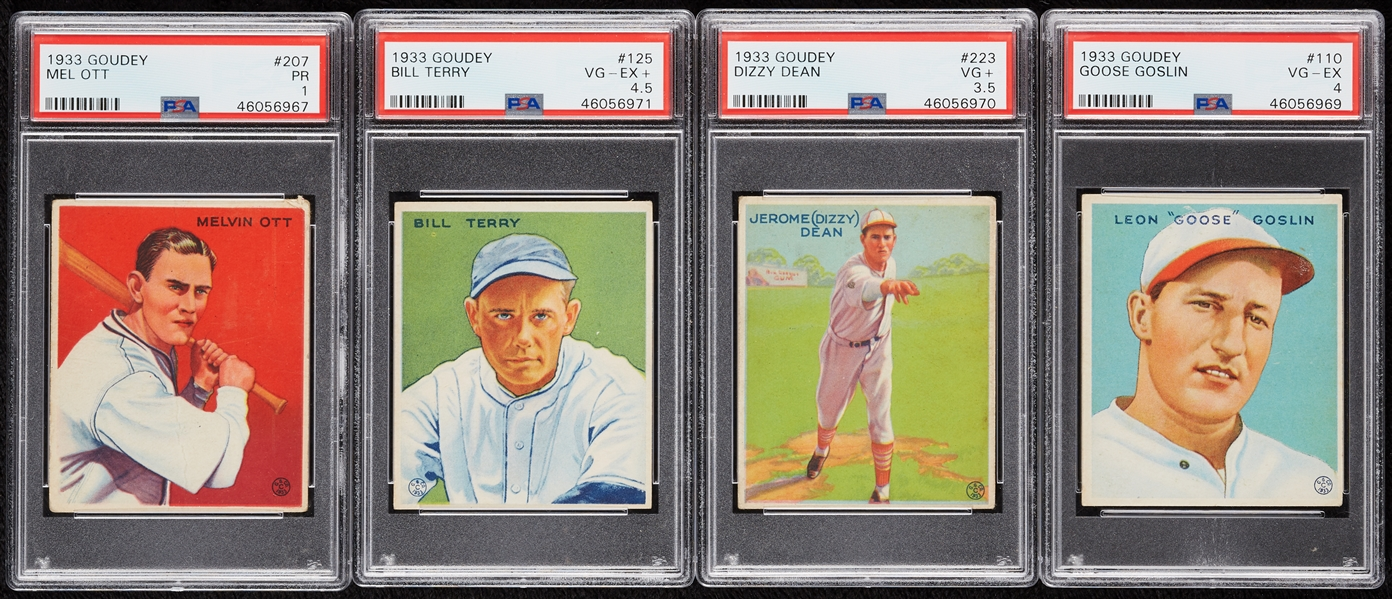 1933 Goudey Baseball Partial Set With Gehrig, 22 HOFers, Four Slabbed (125)