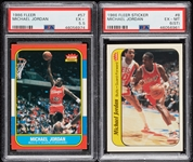 High-Grade 1986-87 Fleer Basketball Complete Set and Stickers With PSA 5.5 Jordan (143)