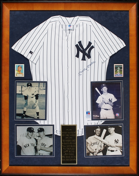 Mickey Mantle Signed Yankees Home Jersey in Frame (BAS)