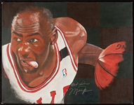 Michael Jordan Signed 28x36 Canvas Artwork (BAS)