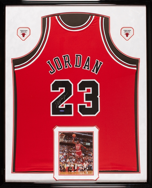 Michael Jordan Signed Chicago Bulls Red Mitchell & Ness Jersey in Frame (UDA)