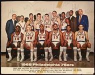 1968 Philadelphia 76ers Team-Signed 9x11.5 Photo with Chamberlain, Jack Ramsey (15) (BAS)