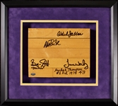 Los Angeles Lakers Multi-Signed Forum Floor Piece with Abdul-Jabbar, Worthy, Magic, Scott, Thompson (5) (PSA/DNA)