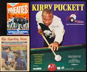 Kirby Puckett Signed Wheaties Box, Sporting News Cover & 8-Ball Tournament Poster (3)