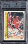 Michael Jordan Signed 1986-87 Fleer RC Sticker No. 8 BGS 9 (AUTO 10)