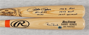 Barry Bonds & Pete Rose Signed Bats (2)