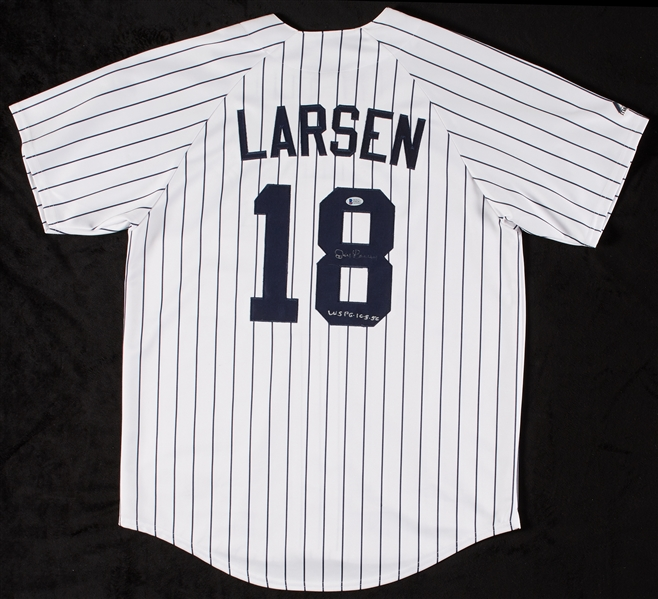 Don Larsen Signed Yankees Jersey Inscribed WS PG-10-8-56 (BAS)