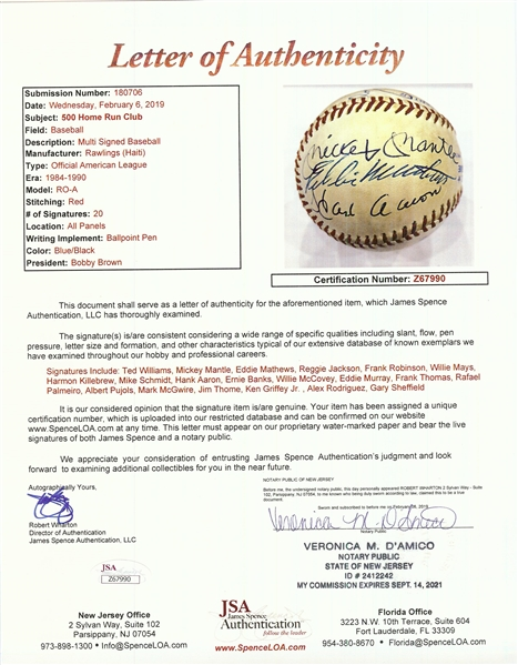 Amazing 500 Home Run Club Multi-Signed OAL Baseball with Mantle, Williams, Mays, Aaron, Pujols (21) (JSA) (BAS)