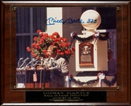 Mickey Mantle Signed 8x10 HOF Photo in Plaque (Graded BAS 10)