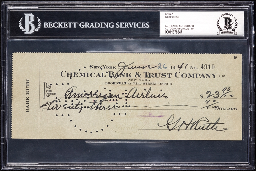 Babe Ruth Signed Check (June 26, 1941) (Graded BAS 10)