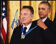 Bruce Springsteen Signed 11x14 Photo with Obama (Graded BAS 10)