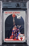 Michael Jordan Signed 1990-91 NBA Hoops No. 65 (Graded BAS 10)