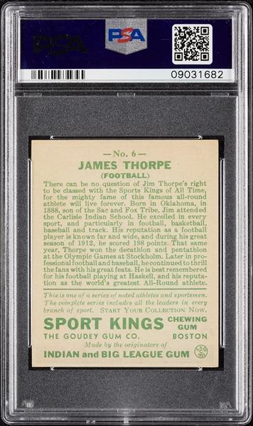 1933 Sport Kings Jim Thorpe No. 6 PSA 8
