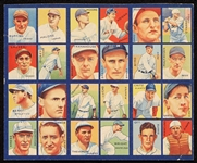 1935 R321 Goudey 4-In-1 Uncut Panel With (6) HOFers - Mel Ott, Traynor, Lazzeri