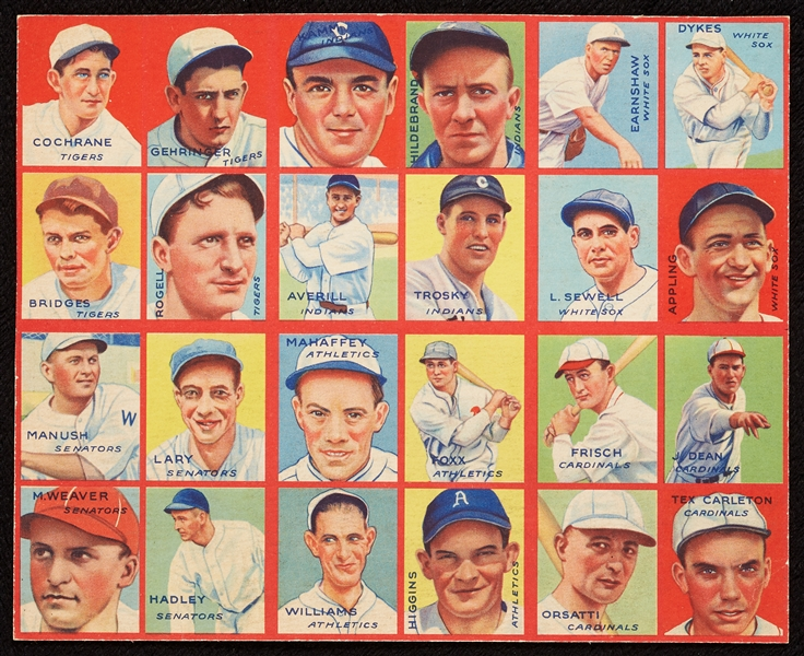 1935 R321 Goudey 4-In-1 Uncut Panel With (5) HOFers - Cochrane, Cronin, Goslin
