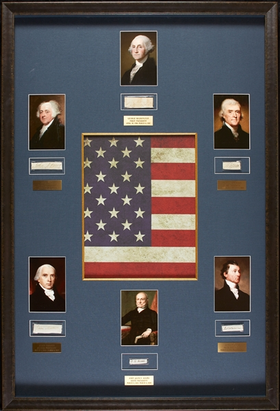 First Six US Presidents Cut Signature Display with George Washington (BAS)