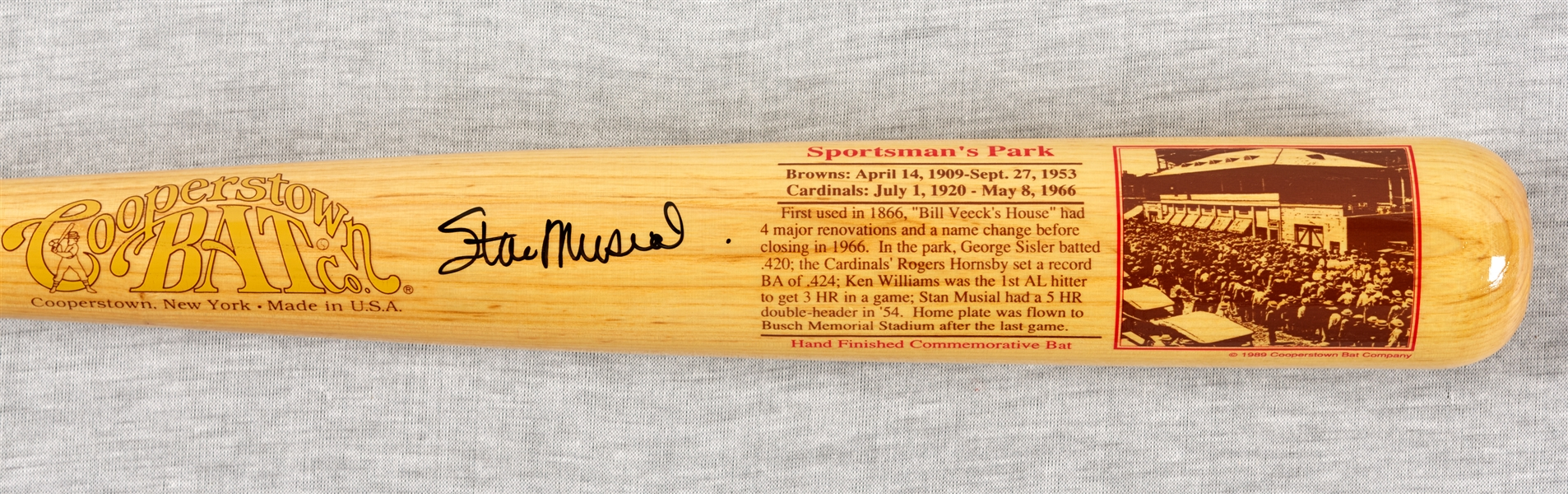 Stan Musial Signed Cooperstown Bat Co. Sportsman's Park Bat (107/1000) (BAS)