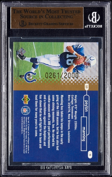 1998 SP Authentic Peyton Manning RC No. 14 BGS 10 Pristine