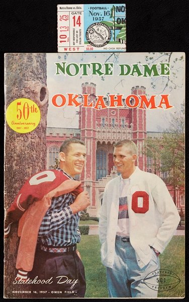 Rare Notre Dame vs. Oklahoma Program and Ticket Stub (Nov. 16, 1957) (2)