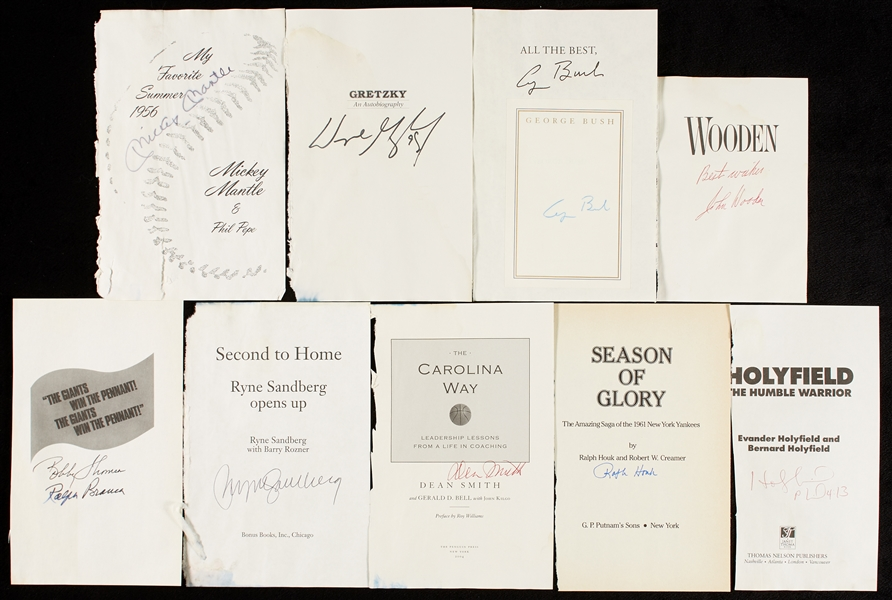 Signed Title Pages Group with Mickey Mantle, Nixon, Gretzky (20)