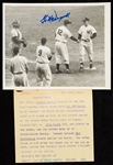Mickey Mantle 1953 World Series Home Run Wire Photo (Signed by McDougald)