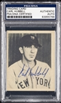 Carl Hubbell Signed 1939 Play Ball Sample Card No. 53 (PSA/DNA)