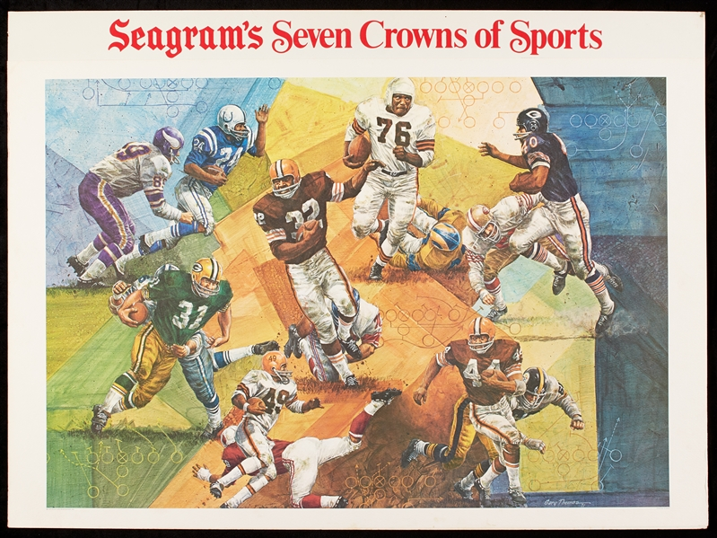 1972 Seagram's The Running Backs Prototype 26x36 Advertising Art