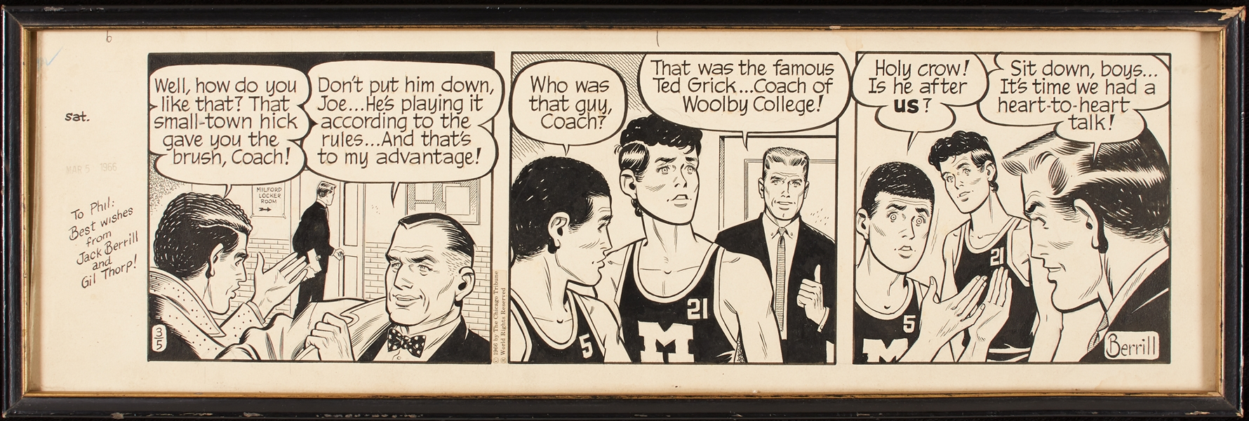 Gil Thorp Comic Strip Art by Jack Berrill (March 5, 1966)