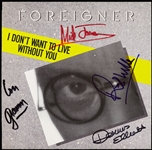 Foreigner Group-Signed 45 Record Sleeve (BAS)