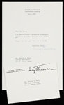Harry Truman Signed Typed Letter (1967)